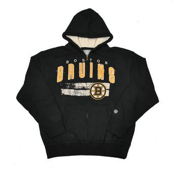 Boston Bruins Old Time Hockey Sumner Black Full Zip Hoodie (Adult S)