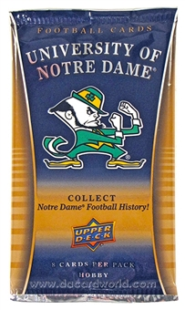 2013 Upper Deck University of Notre Dame Football Hobby Pack