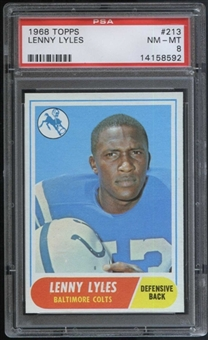 1968 Topps Football #213 Lenny Lyles PSA 8 (NM-MT) *8592