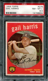 1959 Topps Baseball #378 Gail Harris PSA 8.5 (NM-MT+) *8904