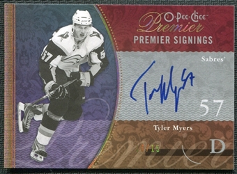 2009/10 Upper Deck OPC Premier Signings Gold #PSTM Tyler Myers Autograph 10/15