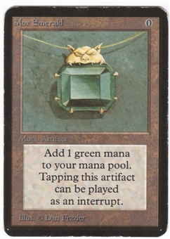 Magic the Gathering Alpha Single Mox Emerald - MODERATE PLAY (MP)