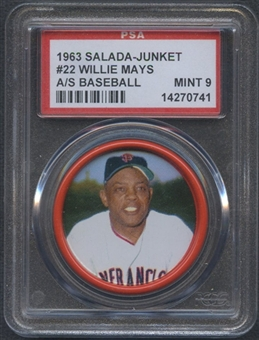 1963 Salada-Junket Baseball Coin #22 Willie Mays PSA 9 (MINT) *0741