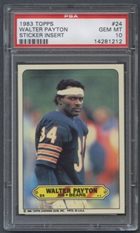 1983 Topps Football #24 Walter Payton Sticker Insert PSA 10 (GEM MT) *1212