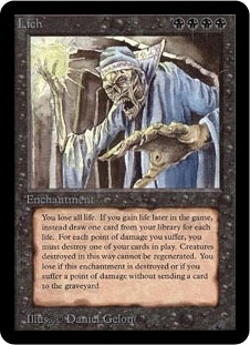 Magic the Gathering Alpha Single Lich LIGHT PLAY (NM)