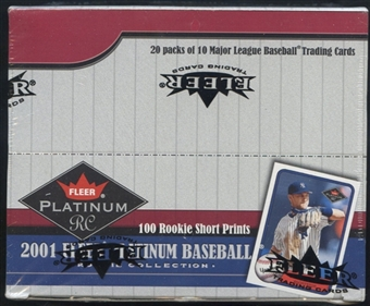 2001 Fleer Platinum Rookie Collection Baseball 20 Pack Retail Box