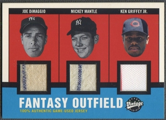 2001 Upper Deck Vintage #FOCJ Joe DiMaggio Mickey Mantle & Ken Griffey Jr. Jersey #06/25