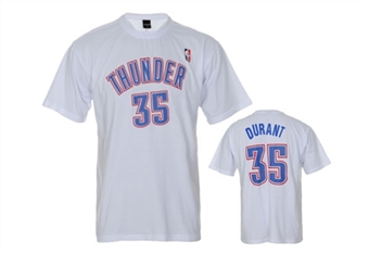 Kevin Durant Oklahoma City Thunder White Adidas Gametime T-Shirt (Size Medium)