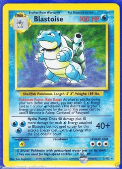Pokemon Base Set 1 Single Blastoise 2/102 - Shadowless - SLIGHT PLAY (SP)