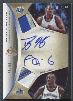 2006/07 SP Game Used #GH Kevin Garnett & Dwight Howard Authentic Fabrics Dual Patch Auto #06/25
