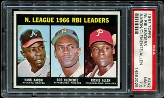 1967 Topps Baseball #242 NL RBI Leaders (Aaron - Clemente) PSA 7.5 (NM+) *2025