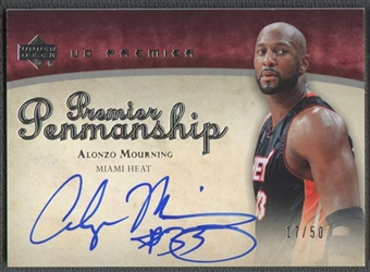 2007/08 Upper Deck Premier #AM Alonzo Mourning Penmanship Auto #17/50