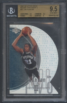 1997/98 Upper Deck #D1 Tim Duncan Rookie Discovery 2 BGS 9.5