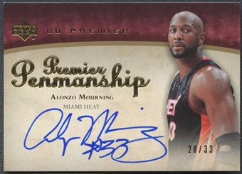 2007/08 Upper Deck Premier #AM Alonzo Mourning Penmanship Gold Auto #28/33
