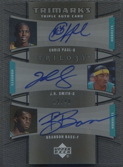 2005/06 Upper Deck Trilogy #PSB Chris Paul, J.R. Smith, & Brandon Bass TriMarks Auto #13/40