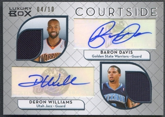2007/08 Topps Luxury Box #DW Baron Davis & Deron Williams Courtside Dual Relics Jersey Auto #04/10