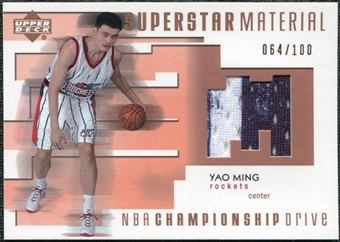2002/03 Upper Deck Championship Drive Superstar Material Jersey #YMM Yao Ming /100