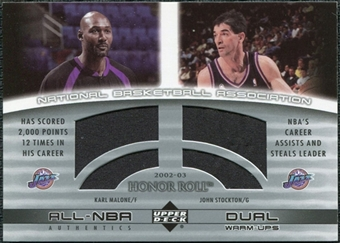 2002/03 Upper Deck Honor Roll Dual Warm-ups #KMJS Karl Malone John Stockton