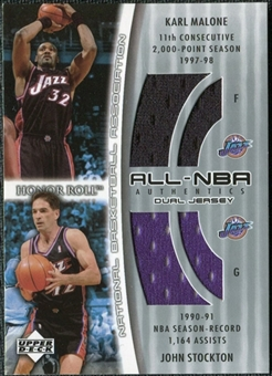 2002/03 Upper Deck Honor Roll Dual Jerseys #KMJS Karl Malone John Stockton