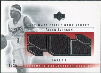 2003/04 Upper Deck Ultimate Collection Jerseys Triple #AI Allen Iverson /25