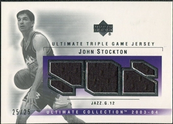 2003/04 Upper Deck Ultimate Collection Jerseys Triple #JS John Stockton /25
