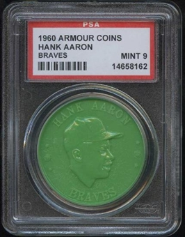 1960 Armour Coin Hank Aaron (Braves) Green PSA 9 (MINT) *8162