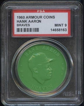 1960 Armour Coin Hank Aaron (Braves) Green PSA 9 (MINT) *8163
