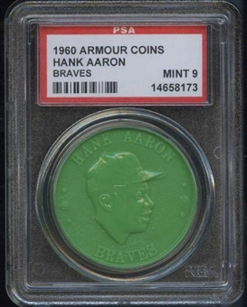1960 Armour Coin Hank Aaron (Braves) Green PSA 9 (MINT) *8173