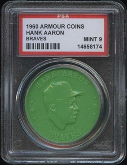 1960 Armour Coin Hank Aaron (Braves) Green PSA 9 (MINT) *8174