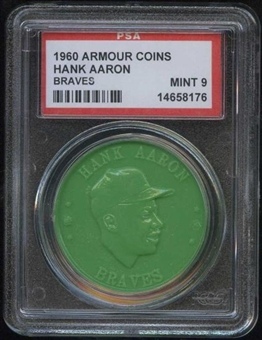 1960 Armour Coin Hank Aaron (Braves) Green PSA 9 (MINT) *8176