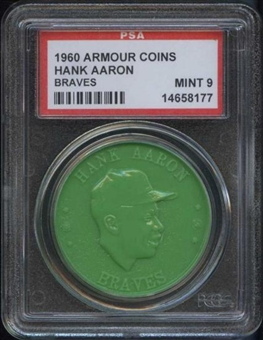 1960 Armour Coin Hank Aaron (Braves) Green PSA 9 (MINT) *8177