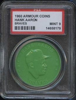 1960 Armour Coin Hank Aaron (Braves) Green PSA 9 (MINT) *8179