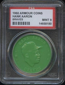 1960 Armour Coin Hank Aaron (Braves) Green PSA 9 (MINT) *8180