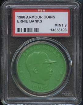 1960 Armour Coin Ernie Banks Green PSA 9 (MINT) *8193