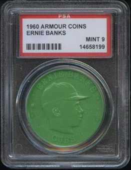 1960 Armour Coin Ernie Banks Green PSA 9 (MINT) *8199