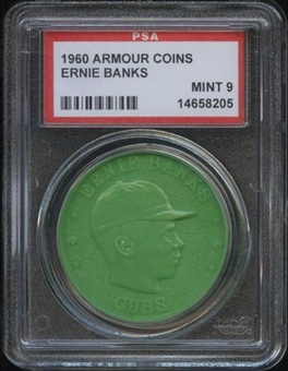 1960 Armour Coin Ernie Banks Green PSA 9 (MINT) *8205