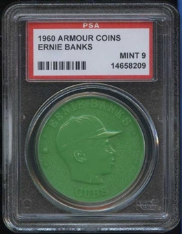 1960 Armour Coin Ernie Banks Green PSA 9 (MINT) *8209