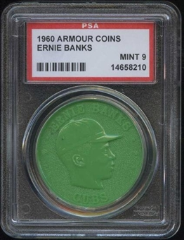 1960 Armour Coin Ernie Banks Green PSA 9 (MINT) *8210