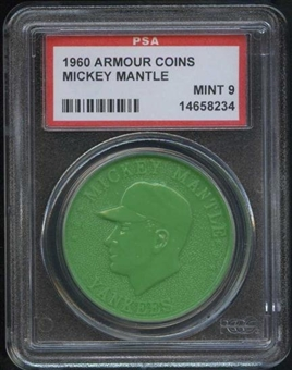 1960 Armour Coin Mickey Mantle Green PSA 9 (MINT) *8234