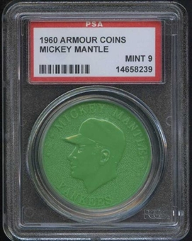 1960 Armour Coin Mickey Mantle Green PSA 9 (MINT) *8239