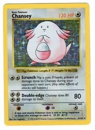 Pokemon Base Set 1 Single Chansey 3/102 - Shadowless - SLIGHT PLAY (SP)