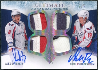 2010/11 Upper Deck Ultimate Collection Patches Duos Autograph Alexander Ovechkin Nicklas Backstrom 1/5