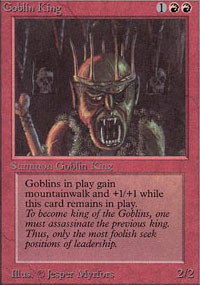 Magic the Gathering Alpha Single Goblin King UNPLAYED (NM/MT)