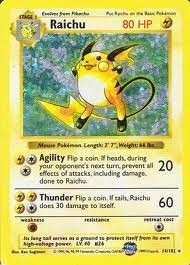 Pokemon Base Set 1 Single Raichu 14/102 - Shadowless