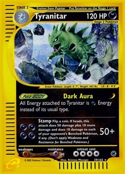 Pokemon Expedition Single Tyranitar 29/165 - SLIGHT PLAY (SP)