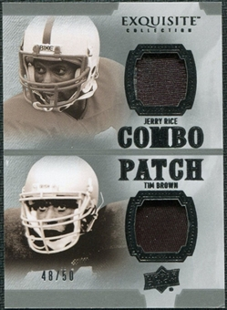 2010 Upper Deck Exquisite Collection Patch Combos #RB Tim Brown Jerry Rice /50