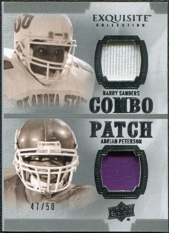 2010 Upper Deck Exquisite Collection Patch Combos #SP Adrian Peterson Barry Sanders /50