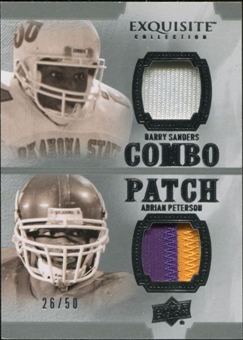 2010 Upper Deck Exquisite Collection Patch Combos #SP Adrian Peterson Barry Sanders 26/50