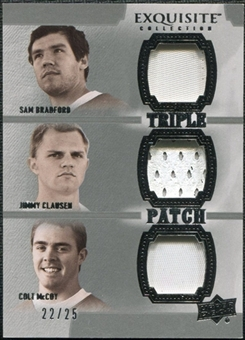2010 Upper Deck Exquisite Collection Patch Trios #BCM Jimmy Clausen Colt McCoy Sam Bradford /25