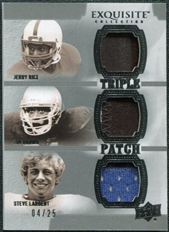 2010 Upper Deck Exquisite Collection Patch Trios #BRL Tim Brown Steve Largent Jerry Rice /25
